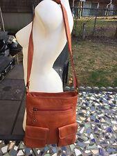 AVORIO Light Brown Super Soft Pebbled Leather Crossbody/shoulder Bag,Italy