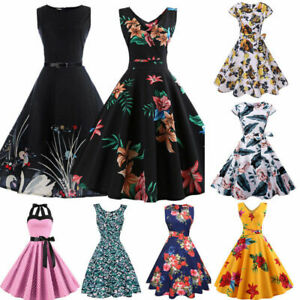 Fashion-Vintage-Dress-50s-60s-Rockabilly-Pinup-Housewife-Party-Swing-Dress-Lots