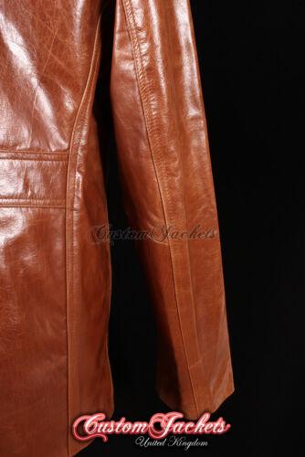 Men/'s Stallion Tan Super Cool media lunghezza smaltata in pelle reefer GIACCONE 4010