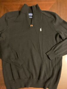 Polo-Golf-Ralph-Lauren-thin-Sweater-black-M-Pullover-1-4-Zip-Merino-Wool