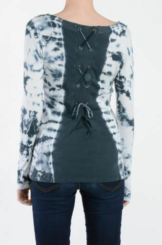 T Party Blue /& White Tie Dyed Lace Up Back Top
