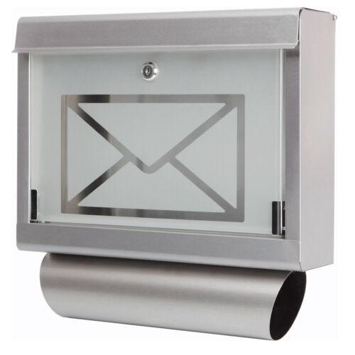 Edelstahl Design Briefkasten Stand Postkasten Zeitung Zeitungsrolle Wand Glas 1