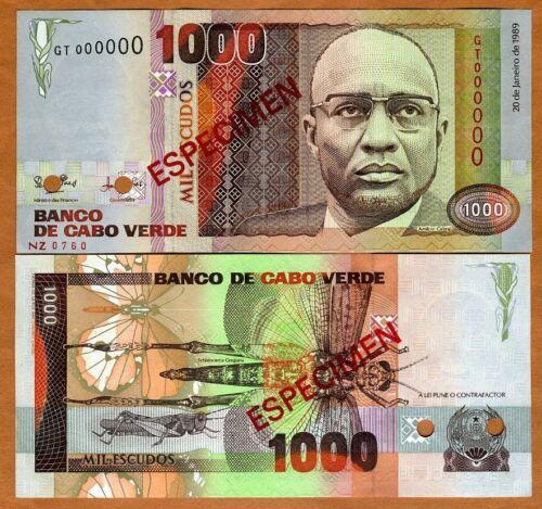 Escudos UNC 1989 1,000 SPECIMEN Cape Verde 1000 P-60s
