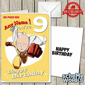 One punch man personalised greeting birthday card anime manga image is loading one punch man personalised greeting birthday card anime altavistaventures Gallery