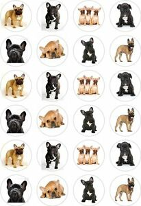 24 French Bulldog Dog Cupcake Cake Toppers Edible Rice ...