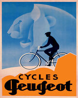 Peugeot Bicycle Cycle Strong Lion Riding Bike 16x20 Vintage Poster Repro Free Sh