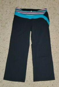 IVIVVA-Lululemon-Girls-039-Black-Blue-Crop-Reversible-Yoga-Pants-sz-8