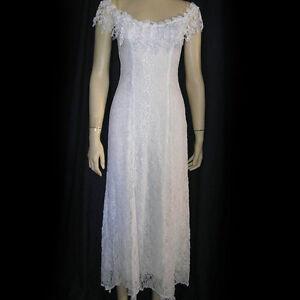9c6aca4e33 Image is loading White-Lace-Peasant-Casual-Western-Beach-Wedding-Dress-
