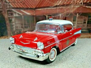 """""""Fire Chief"""" Road Legends '57 Chevy Bel Air Coupe Matador RED/India Ivory"""