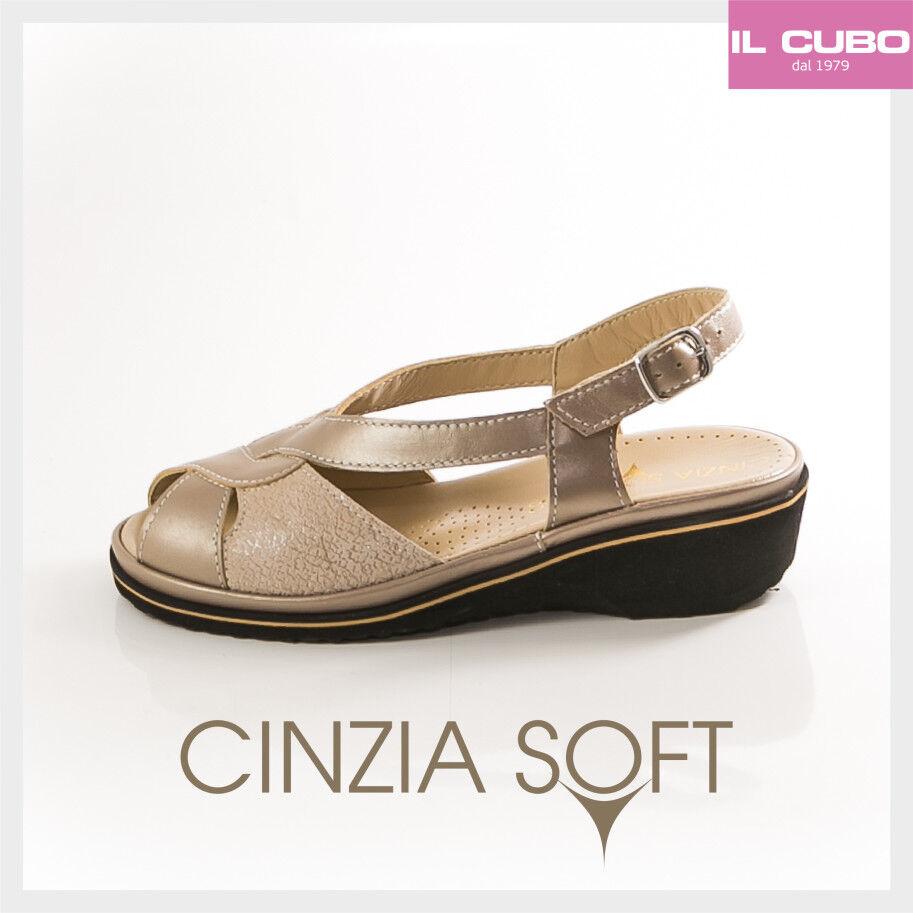 CINZIA COLORE SOFT SANDALO DONNA PELLE COLORE CINZIA TORTORA ZEPPA H 3,5 CM MADE IN ITALY 81ae45