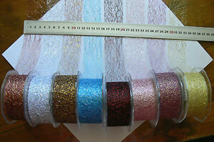 Fine-Metallic-Mesh-3-Metre-Length-38mm-Wide-Ribbon-8-Colour-Choice-AL1-GreenTara