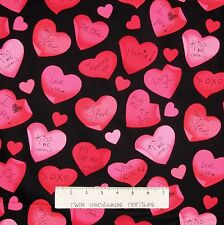 Valentine's Day Fabric - Love Notes in Hearts Black - Benartex Kanvas YARD