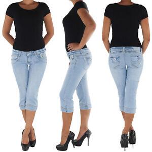 Damen-Capri-3-4-Jeans-Shorts-Bemuda-Kurze-Hueft-Stretch-Hose-8775