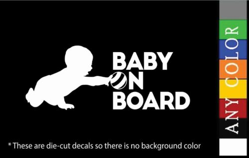 CUTE BABY MADE IN USA .7in Wide BABY ON BOARD DIE CUT STICKER 4in Tall x