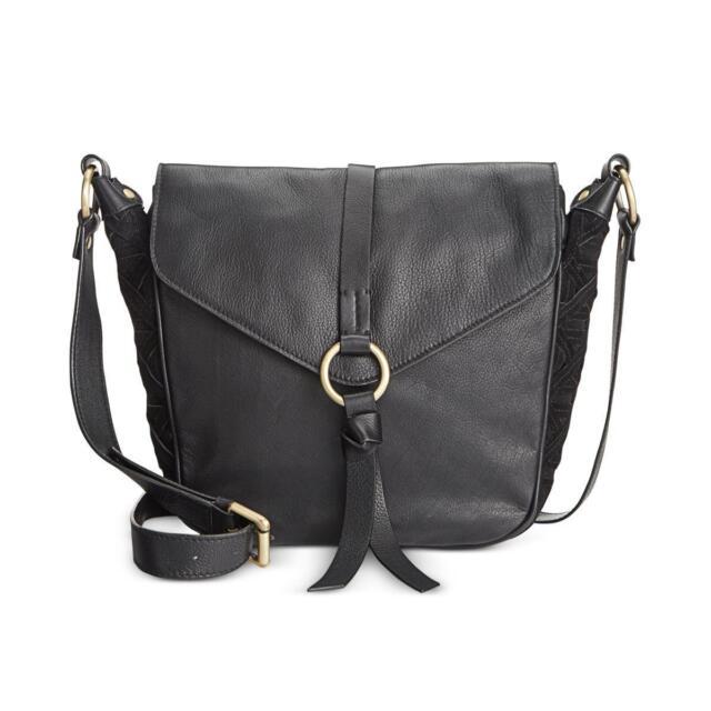 Nanette Lepore Aspen Iii Leather Suede Adjule Crossbody Flap Hobo Handbag B
