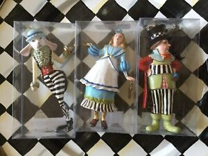 MacKenzie-Childs- Alice, Mad Hatter & Rabbit Ornaments  - Set of 3 -
