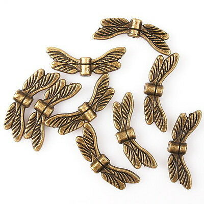 70pcs 112733 Hotsale Bronze Tone Dragonfly Wings Charms Alloy Spacer Beads 20mm