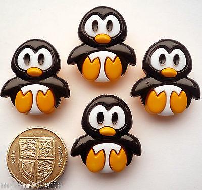 PENGUINS Craft Buttons 1ST CLASS POST Animal Bird Sea Novelty DRESS IT UP Themed