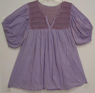 Vintage LAVENDER Cotton GAUZE Hippie MEXICAN Peasant Top FESTIVAL Blouse L/XL
