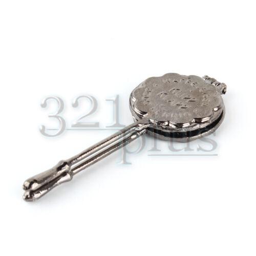 1:12 Puppen Kochgeschirr Puppenhaus Waffeleisen Küche Waffeln Metall Silber