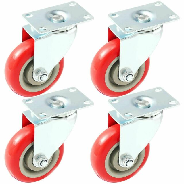 2 inch 8 Pack Caster Wheels Swivel Plate Casters On Red Polyurethane Wheels