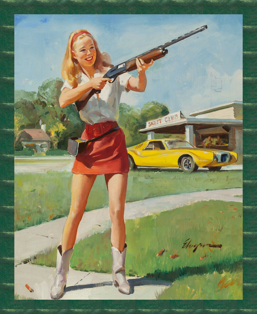 8838.Decoration Poster.Home room interior art print.Sexy Pinup shooting rifle