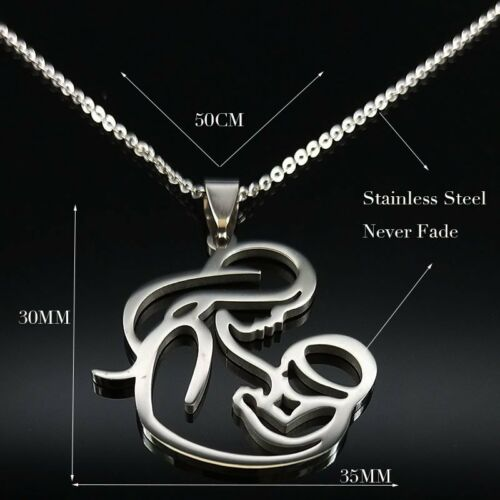 2019 Mother/'s Day Gift MOM BABY Stainless Steel Necklace Pendant Women Jewellery