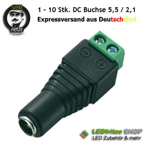 DC Buchse Kupplung mit Schraubanschluss ideal für LED 5,5mm 2,1mm RGB 1 Stk