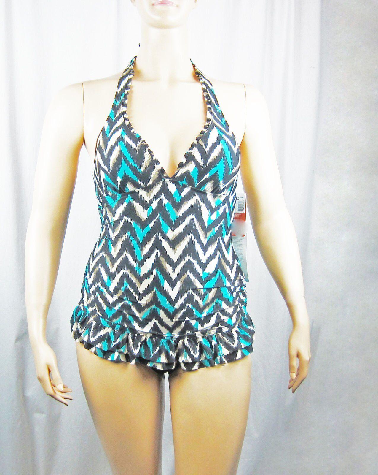 NWT Eco Swim by Aqua Green Halter Chevron Print Swimdress Multi color Size 10