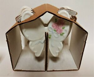 NOS-3-Vintage-Ceramic-Butterflies-Home-Interiors-1205-BL-Pink-Rose-NEW-in-Box