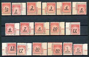 USAstamps-Unused-US-Postage-Due-Mostly-Plate-Singles-Set-Scott-J89-J104-OG-MNH