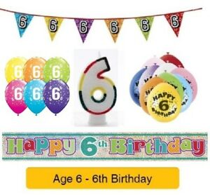 Image Is Loading Happy 6th Birthday AGE 6 Party Balloons Banners