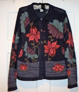 Navy Connection Cotton Small Pima Peruvian Sweater Cardigan Floral qtTwSfnBf