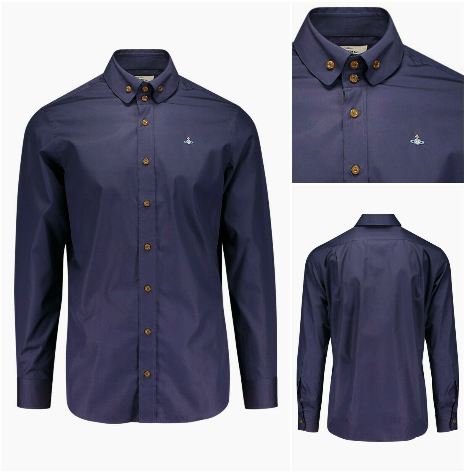 AUTHENTIC VIVIENNE WESTWOOD NAVY KRALL CHEST ORB REGULAR FIT SHIRT. IT46 - SMALL