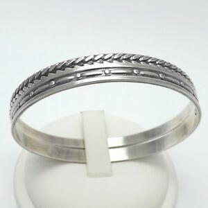 Sterling-Silver-Vintage-MJ-Metro-Creative-Foxtail-PAIR-Slip-On-Bangle-Bracelets