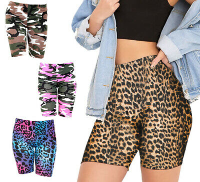 Womens Cycling Shorts Bike Shorts Active Gym Shorts Stretch Animal Print 8-18 Cycling Sporting Goods