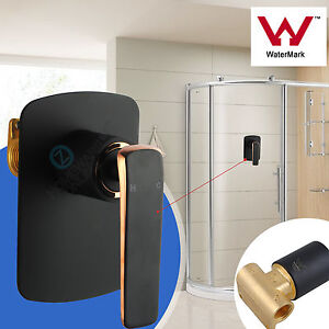 Square-bathroom-vanity-shower-set-wall-mixer-spout-tap-brass-Black-amp-rose-gold-AU