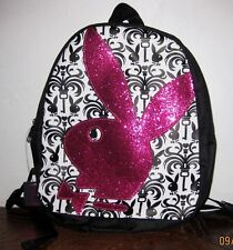 Playboy Mini Backpack LARGE PINK SEQUENCE LOGO Bunny Rabbit  Officially Licensed