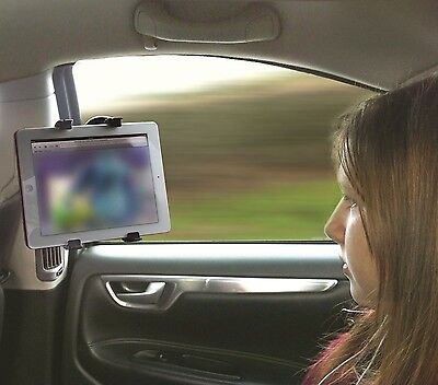 Car Window or Desk Suction Tilt & Rotate iPad, DVD & Tablet Black Stand Holder