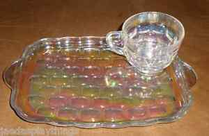 Federal-YORKTOWN-Carnival-Iridescent-Glass-Snack-Set-Cup-amp-Tray-FREE-US-Shipping