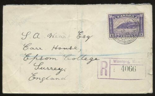 CANADA 1932 13c REGIST FIRST DAY COVER WINNIPEG to GB