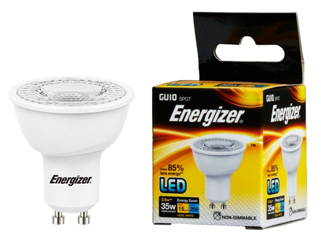 Energizer 3.6w (=35w) LED GU10 Spotlight Bulb - 36° beam, Cool White (4000k)