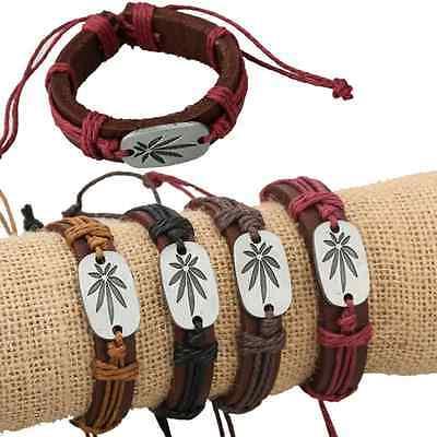 12pcs Cannabis Ganja Marijuana Weed Leaf Leaves Charm Leather Bracelet Wristband