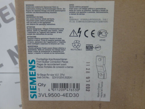 SIEMENS Details about  /3VL95004ED30 Front New 3VL9500-4ED30 // Range Of Raccord