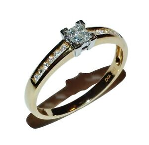 UK Hallmarked 9ct Yellow Gold 0.40ct Solitaire Ladies Engagement Ring size O