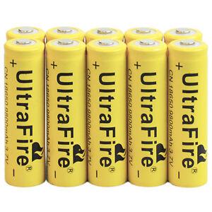 10x 3.7V 18650 Rechargeable Battery For Flashlight Torch 9800mAh Li-ion LED EA