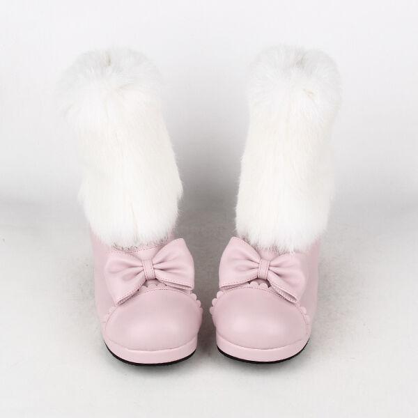 New Sweet Bow Lolita Tea Party Badydoll Badydoll Badydoll Winter Ankle Boots Rabbit wool 8563-4.5 b6ab33