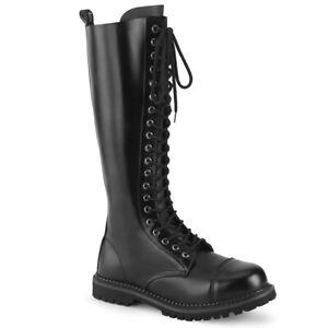 Demonia RIOT-20 Mens Black Leather Steel Toe Combat Punk Goth Biker Knee Boots