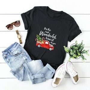 Women-Merry-Christmas-Tree-Car-Blouse-Tee-Top-Funny-Short-Sleeve-Summer-T-Shirt