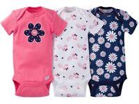 Gerber Baby Girl Onesies Bodysuits Variety 3-pack Baby Shower Gift - Pink -